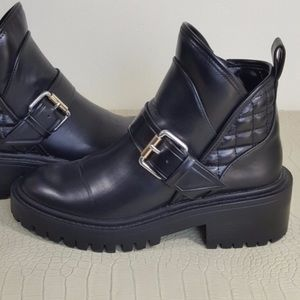 Zara quilted ankle combat boot